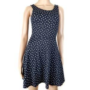 H&M | Navy Blue Polka-dot Stretch Skater Dress